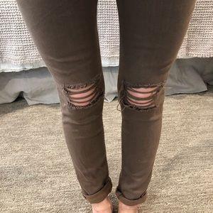 Rag & Bone Brown Jegging Legging jeans 23 ripped